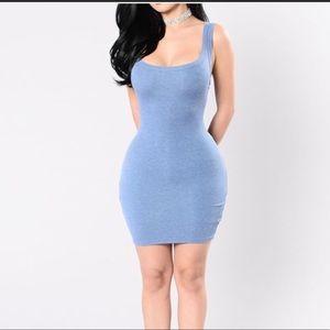 Fashion Nova Baby Blue Ribbed Body Con